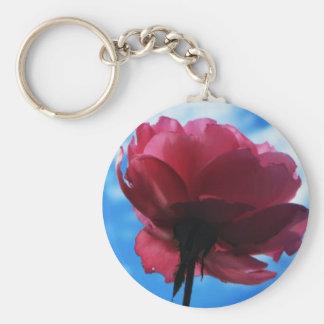 Summer Rose Basic Round Button Keychain
