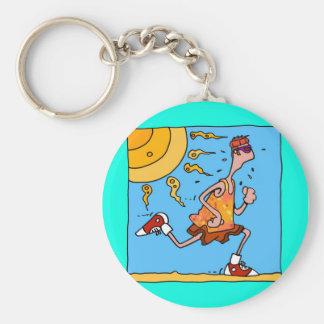 summer runner (guy) basic round button keychain