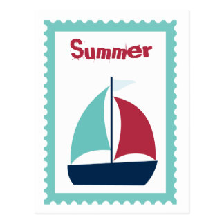 Summer Sailing Sail Boat Sailboat Postcard