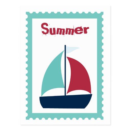 Summer Sailing Sail Boat Sailboat Post Card