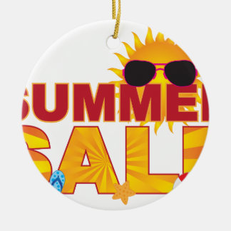 Summer Sale Beach Theme Banner Illustration Ceramic Ornament