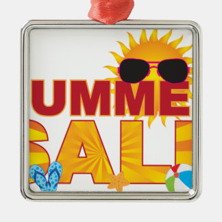 Summer Sale Beach Theme Banner Illustration Metal Ornament