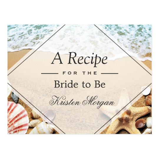 Summer Sandy Beach Starfish Bridal Shower Recipe Postcard