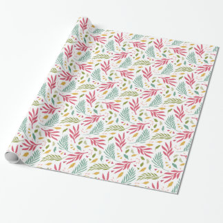 Summer Scattered Leaf Pattern ID387 Wrapping Paper