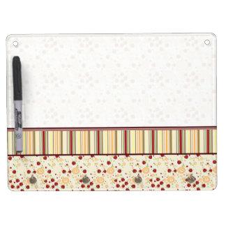 Summer Scattered Strawberry Swirl Pattern - Border Dry Erase White Board