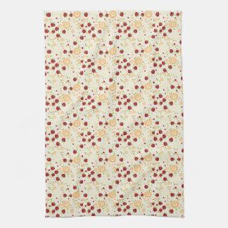 Summer Scattered Strawberry Swirl Pattern Hand Towel