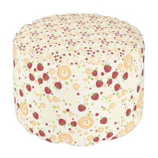 Summer Scattered Strawberry Swirl Pattern Pouf