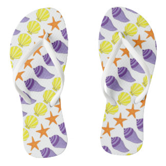 Summer Sea Shell Seashell Starfish Beach Print Flip Flops