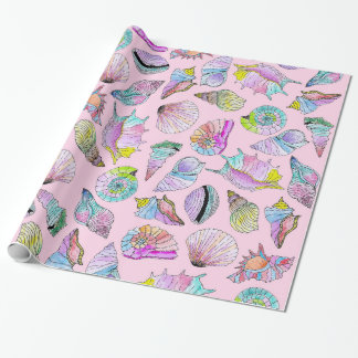 Summer Seashells in Girly Painted Watercolor Paint Wrapping Paper