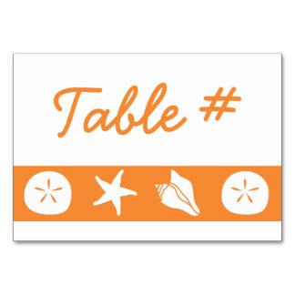 Summer Seashells in Orange Table Card