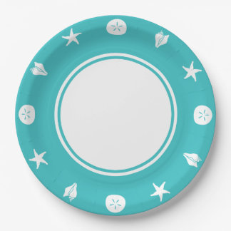 Summer Seashells in Turquoise Paper Plate