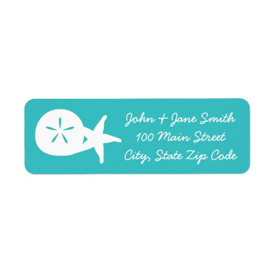 Summer Seashells in Turquoise Return Address Label