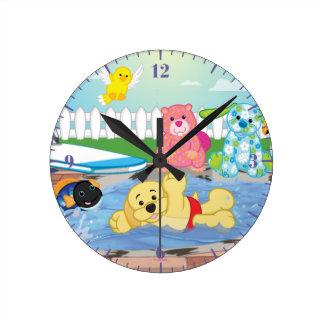Summer Sensation Pool Round Clock