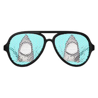 Summer Shark Hand Drawn and Painted on Teal Party Sunglasses