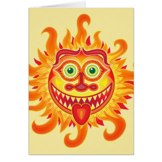 Summer shiny sun grinning and sticking tongue out card