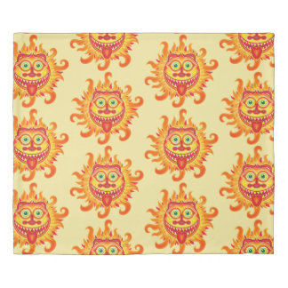 Summer shiny sun grinning and sticking tongue out duvet cover