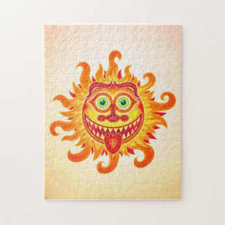 Summer shiny sun grinning and sticking tongue out jigsaw puzzle