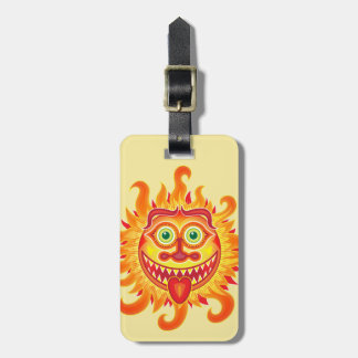 Summer shiny sun grinning and sticking tongue out luggage tag
