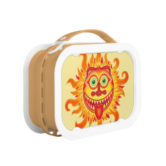 Summer shiny sun grinning and sticking tongue out lunch boxes