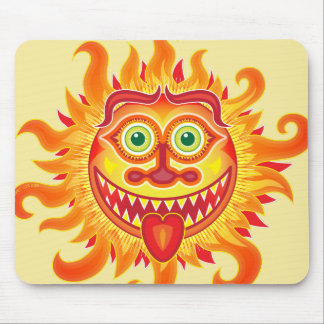 Summer shiny sun grinning and sticking tongue out mouse pad