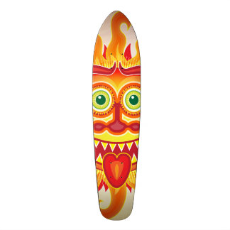 Summer shiny sun grinning and sticking tongue out skate board