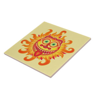 Summer shiny sun grinning and sticking tongue out tile