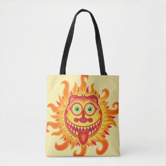Summer shiny sun grinning and sticking tongue out tote bag