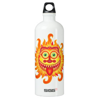 Summer shiny sun grinning and sticking tongue out water bottle