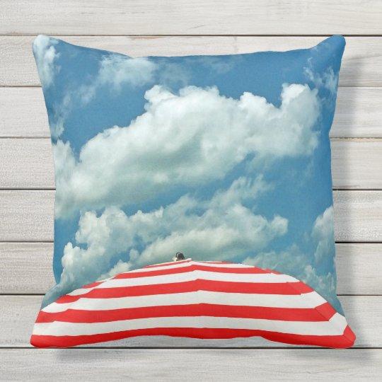 Summer Sky and Beach Umbrella Pillow