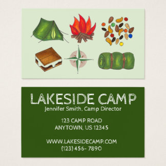 Summer Sleepaway Camp Camping Campground Business Card