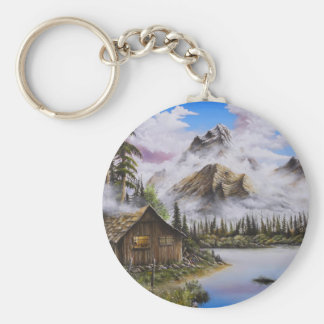 Summer Solitude Oil painting by David Paul Basic Round Button Keychain