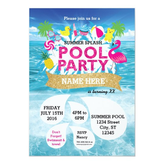 Summer Splash Pool Party Invitation 5 x 7