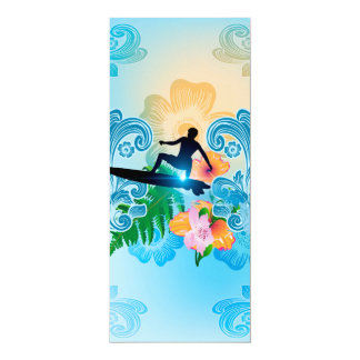 "Summer sports, surf boarder with wave 4"" x 9.25"" invitation card"