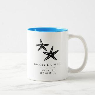 Summer Starfish Destination Wedding Favor Two-Tone Coffee Mug