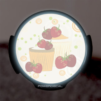 Summer Strawberries And Cupcakes Art LED Window Decal