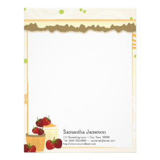 Summer Strawberries And Cupcakes Art Letterhead