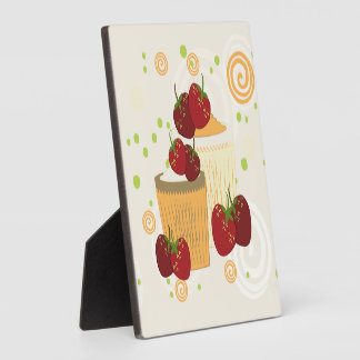 Summer Strawberries And Cupcakes Art Plaque
