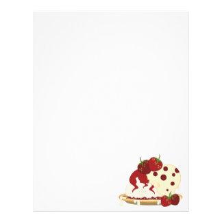 Summer Strawberries And Ice Cream Art Customized Letterhead