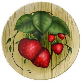 Summer Strawberries Porcelain Plate