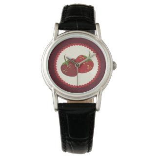 Summer Strawberry Cream Pie Art Wristwatch