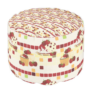 Summer Strawberry Sweet Treats Pattern Pouf