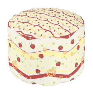 Summer Strawberry Swirl Chevron Pattern Pouf