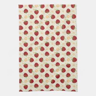 Summer Strawberry Swirl Pattern Kitchen Towel