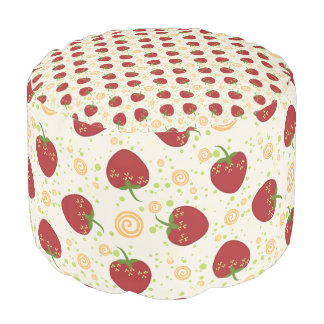 Summer Strawberry Swirl Pattern Pouf
