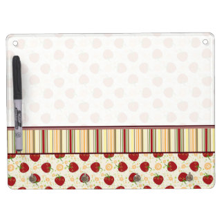 Summer Strawberry Swirl Pattern With Border Dry-Erase Whiteboard