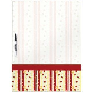 Summer Strawberry Swirl Stripes Pattern - Border Dry Erase Whiteboards
