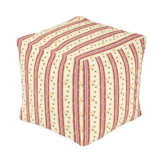 Summer Strawberry Swirl Stripes Pattern Pouf