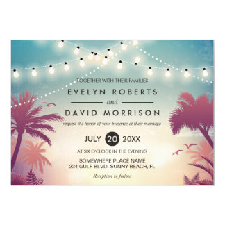 Summer String Lights Palm Tree Outdoor Wedding Card