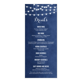 "Summer String Lights Wedding Drink Menu Card 4"" X 9.25"" Invitation Card"