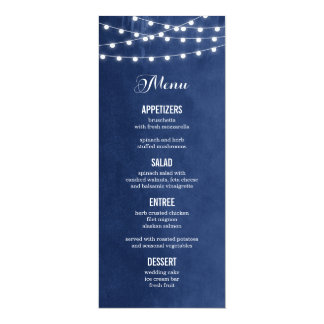 Summer String Lights Wedding Menu Card